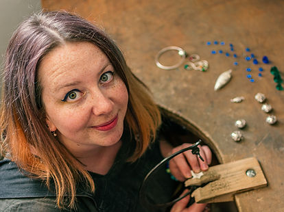 Ellen Thorpe silver and glass jewellery.