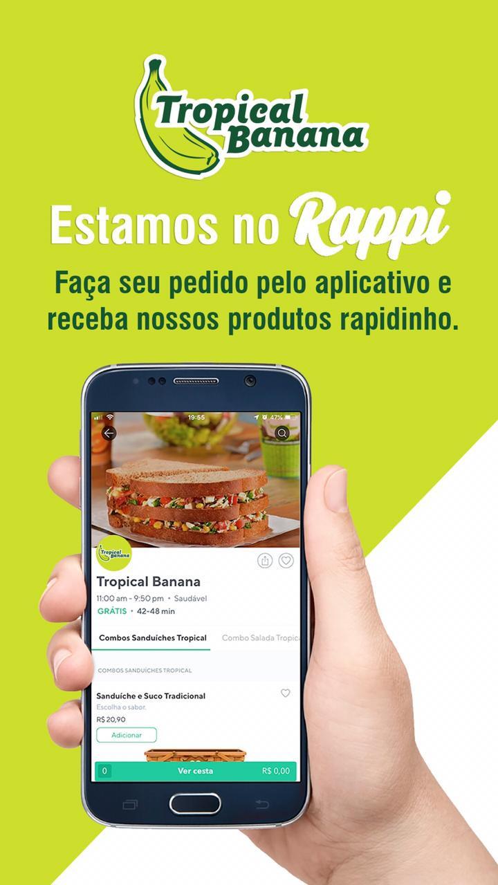 Tropical Banana agora tem delivery pelo Rappi