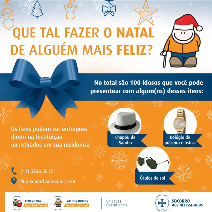 Recanto do Tarumã está em campanha para presentear idosos no Natal
