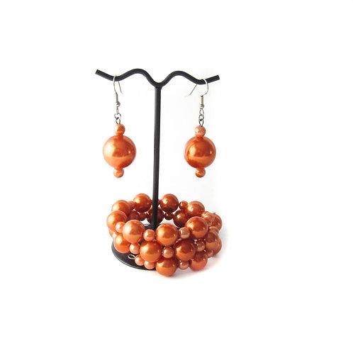 Pumpkin Spice Pearl Bracelet and Earring Set