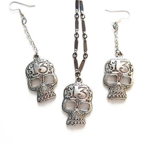 13 Skull Charm Necklace and Earring Set