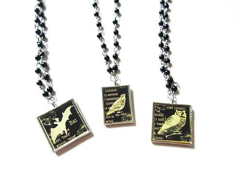 Black Tile Rosary Necklace Bat Crow Owl