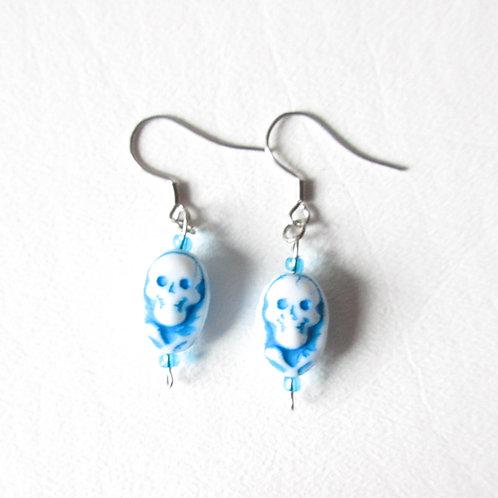 Czech Glass Blue and White Skull Earrings