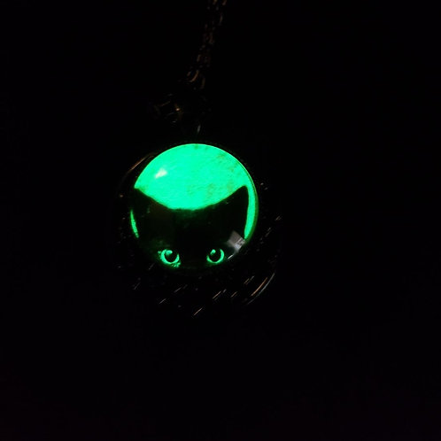 Glow in the Dark Black Cat Necklace