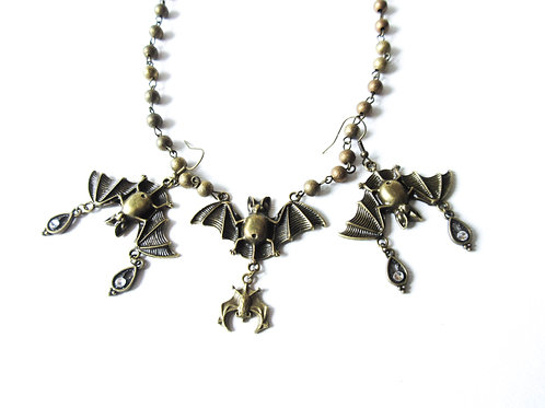 Brass Bat Necklace and Earring Set