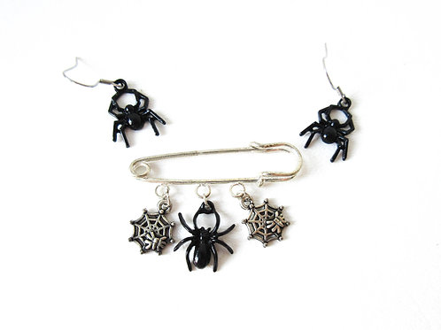 Spider Charm Pin and Earring Set