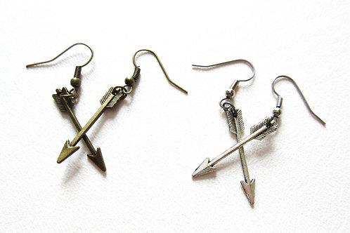 Arrow Earrings Silver or Brass Tone