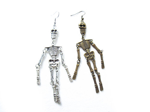 Articulated Skeleton Earrings Brass or Silver Tone