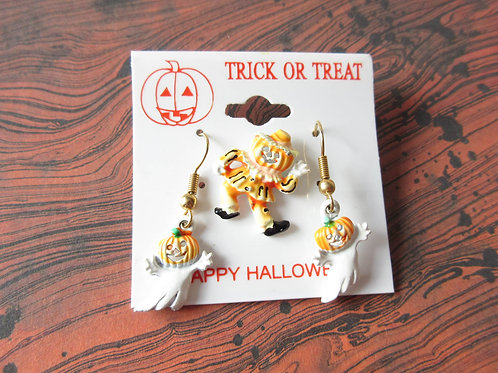 Vintage Enamel Halloween Jewelry Set
