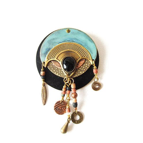 Egyptian Revival Mixed Media Artisan Brooch