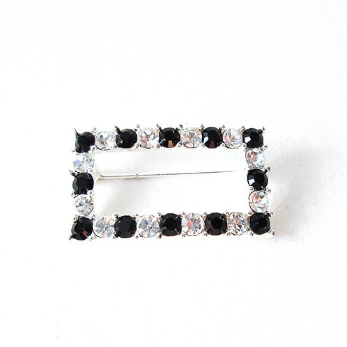 Vintage Napier Black and Clear Rhinestone Pin