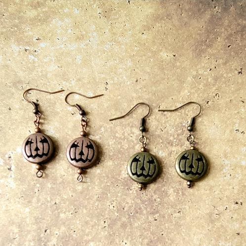 Metal Jack O Lantern Earrings