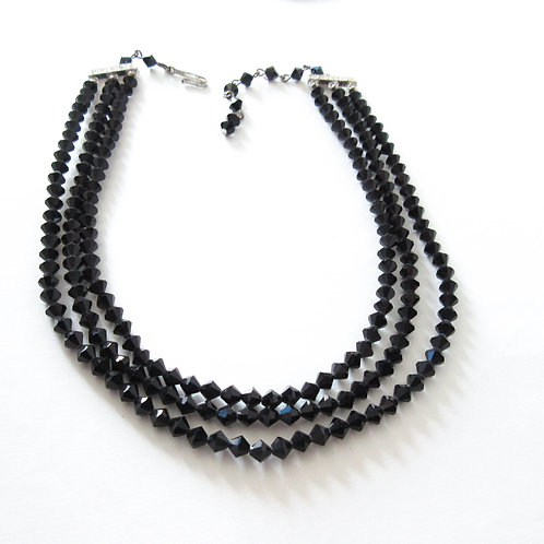 Vintage Laguna Black Crystal Necklace