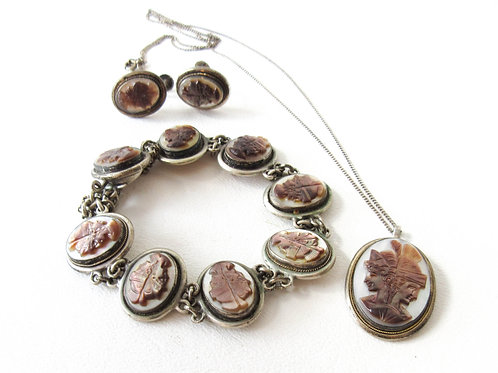 Silver and Mother of Pearl Cameo Set