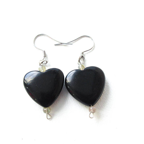 Onyx and Labradorite Heart Earrings