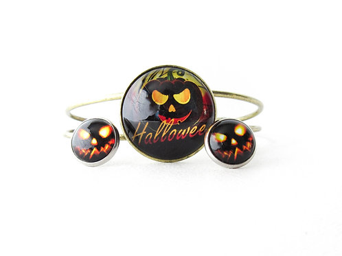 Jack O Lantern Earrings and Bracelet Set