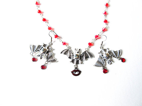 Silver Tone Bat Necklace and Earring Set