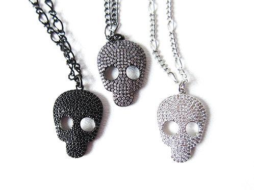 Bling Skull Necklace Black, Gunmetal, Clear