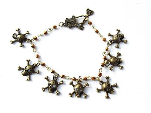 Skull and Crossbone Charm Braclet