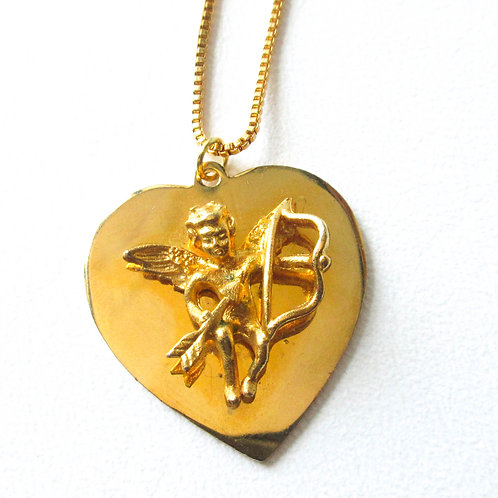 Gold Tone Cupid Necklace