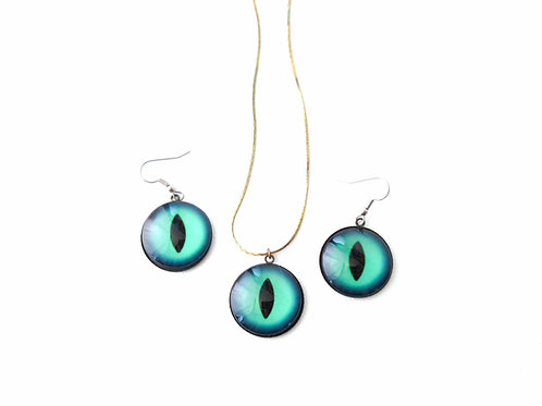 Green Cat's Eye Necklace and Earring Set
