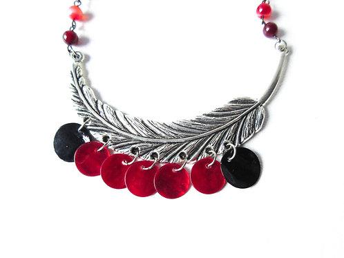 Red and Black Leaf Necklace