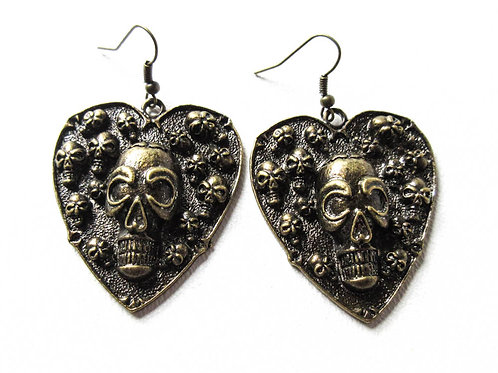 Antique Brass Skull Heart Earrings