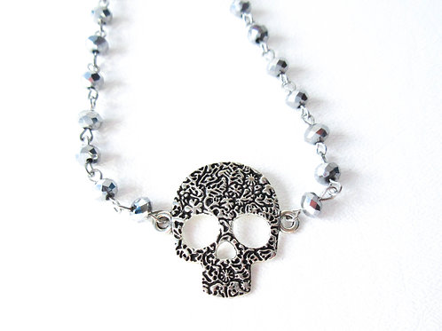 Silver Floral Skull Necklace