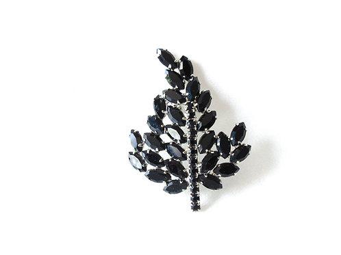 Vintage Black Rhinestone Leaf Pin