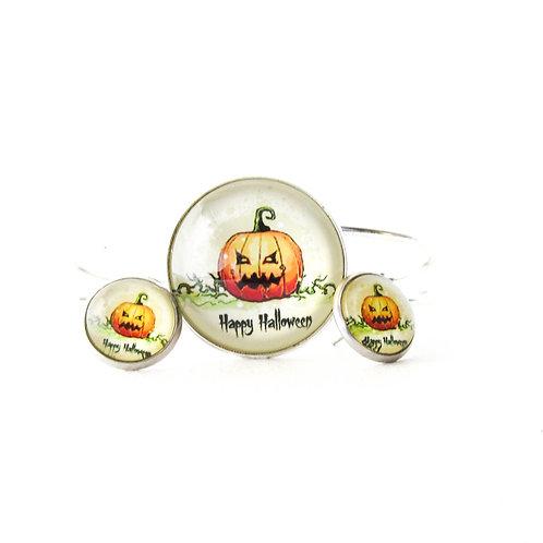 Happy Halloween Jack O Lantern Bracelet and Earring Set