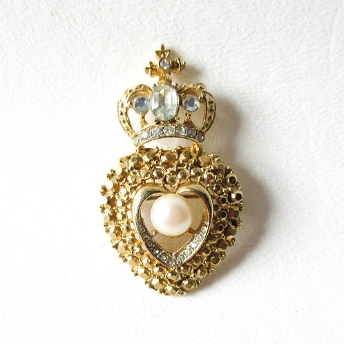 Crown Heart Brooch