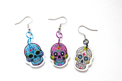 Plastic Sugar Skull Earrings Purple, Blue, or White