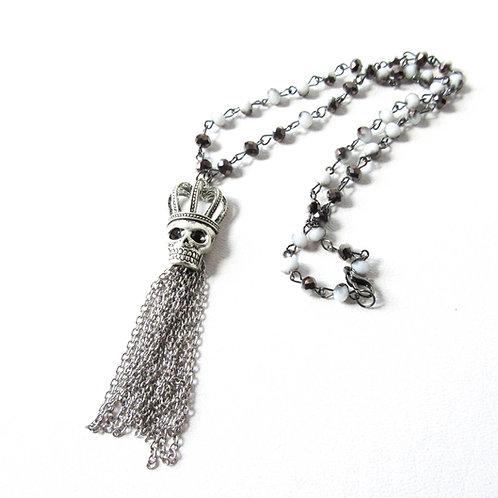 Ombre Skull Tassel Necklace