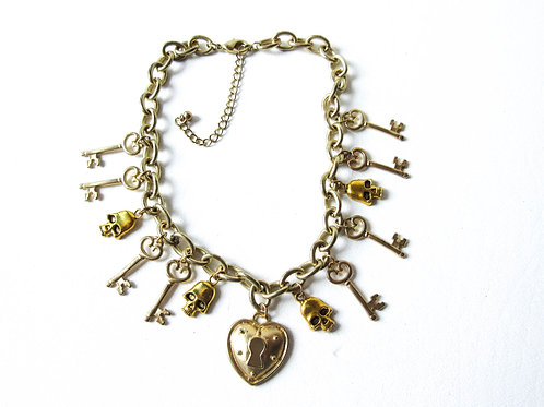 Gold Skull and Key Necklace