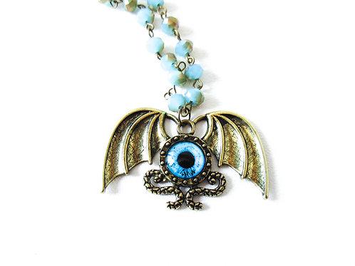 Gold Winged Eyeball Necklace