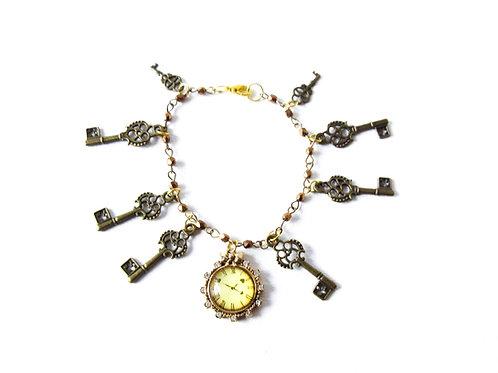 Clock and Key Charm Bracelet