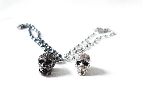 Rhinestone Skull Necklace Gunmetal or Silver