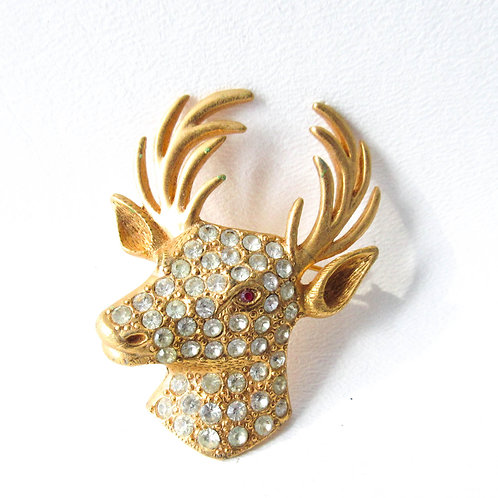 ORA Rhinestone Deer Head Brooch