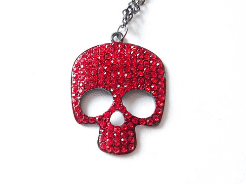 Red Rhinestone Skull Necklace