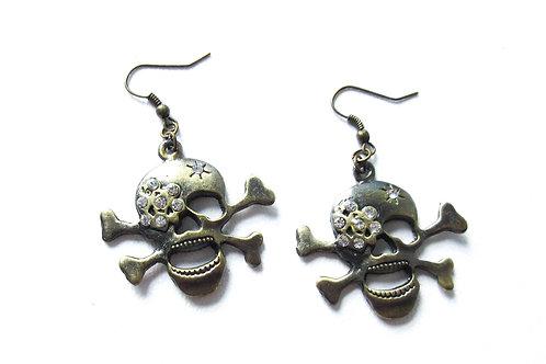 Rhinestone Skull and Crossbones Earrings