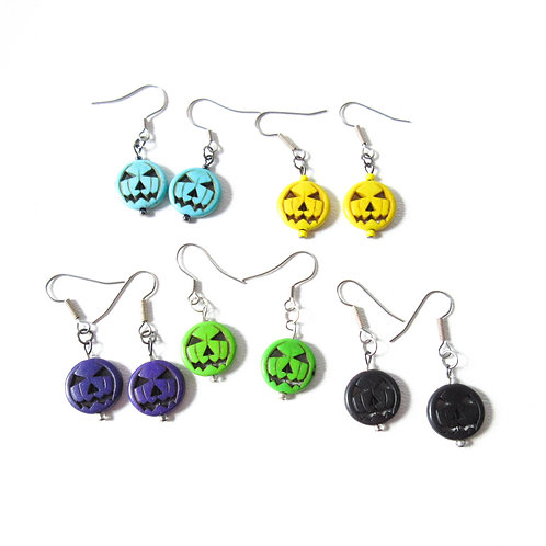 Colored Jack O Lantern Earrings