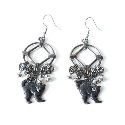 Black Cat Chandelier Earrings