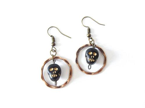 Black and Gold Skull Earrings