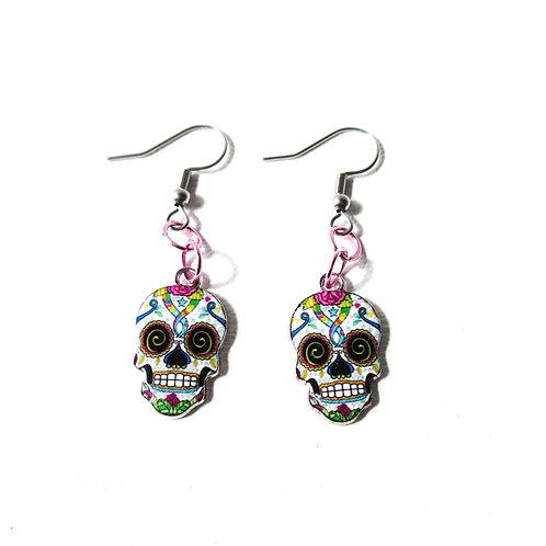 Pink and White Sugar Skull Earrings