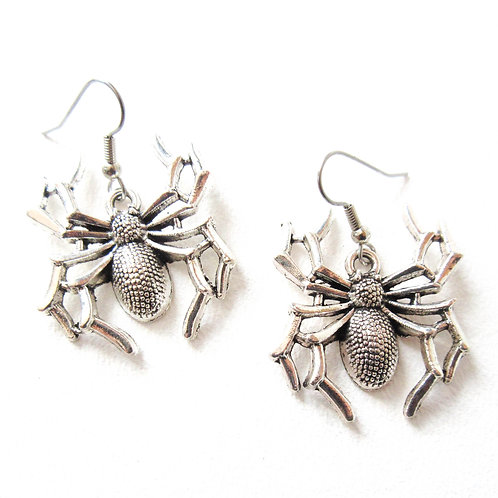 Silver Tone Spider Earrings
