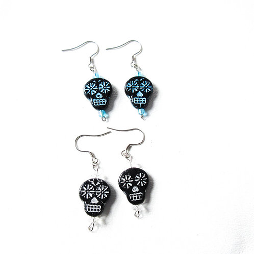 Black Sugar Skull Earrings with Blue or White Faces