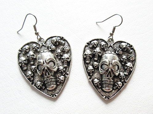 Large Skull Heart Earrings