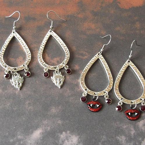 Silver Teardrop Earrings Devil or Vampire Fangs