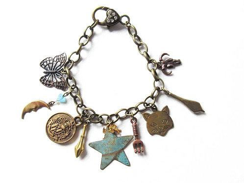Cat and Star Charm Bracelet