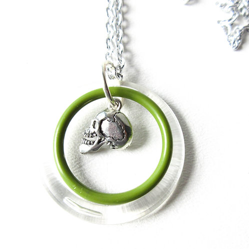 Green Circle Skull Necklace